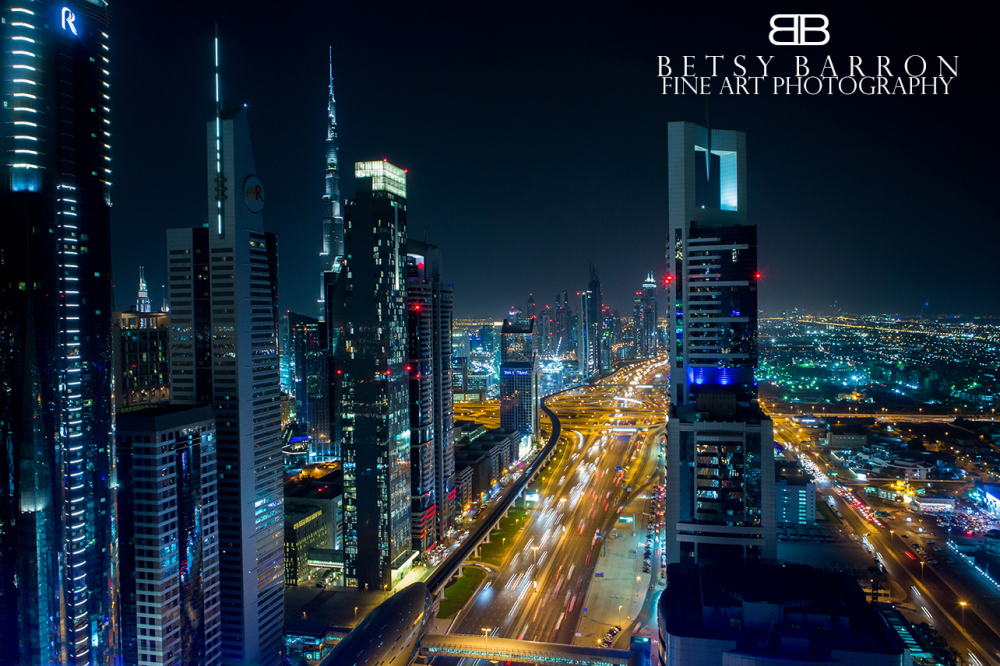 dubai, city, night, lights, skyline, skyscrapers