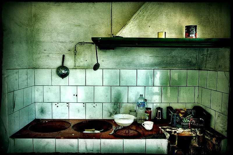 abandoned desolated kitchen