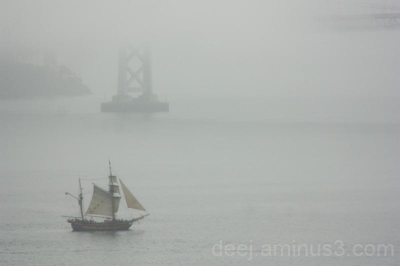 SHip under Bay Bridge San Francisco