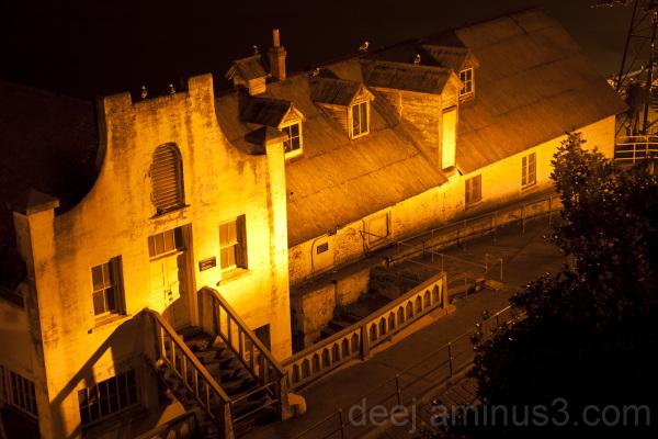 Alcatraz guardhouse at night