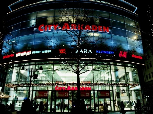 Shopping arcade by night