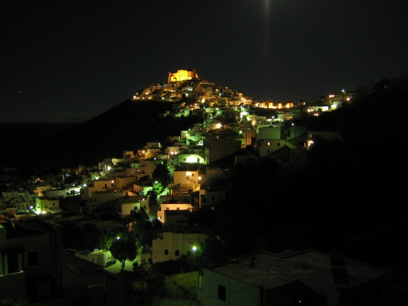 Astypalea island Chora view night
