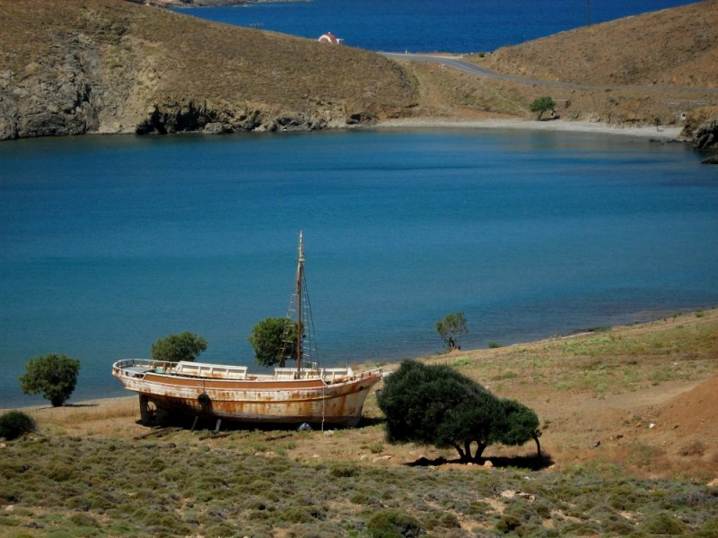 Steno beach Astypalea island Dodecanese old boat
