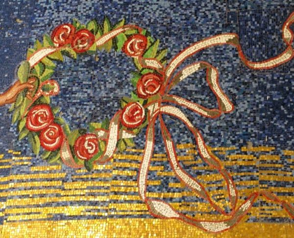 mosaic details  flowers hand old baths loutraki gr