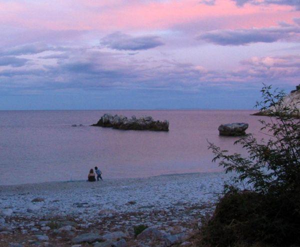 sea pelion damouchari beach sunset woman child