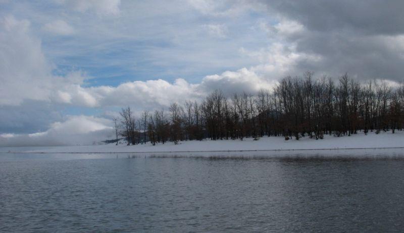 snowy landscape Plastira lake