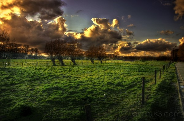 hdr brugge countryside green rain water clouds wet