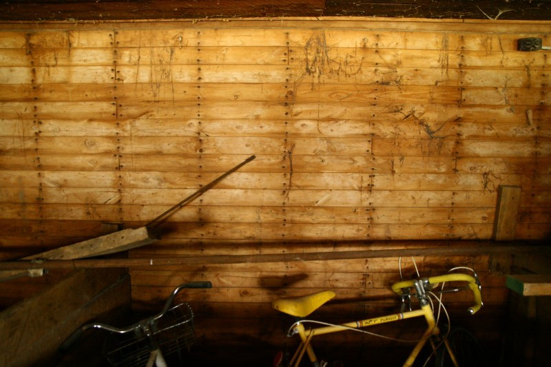 Sarah Guck yellow bike wood wall photo Dan Dredger