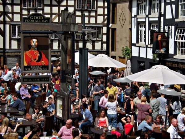 Photo of people outside in a beer garden