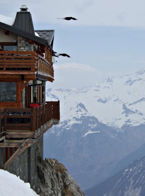 ski restaurant mountain view snow birds soaring