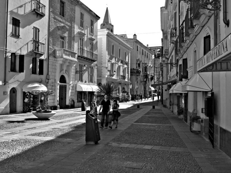 black and white photo of Alghero, Sardinia