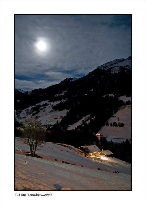 hauteluce savoie night house view moonlight