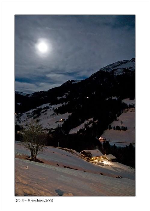 hauteluce savoie night house view moonlight