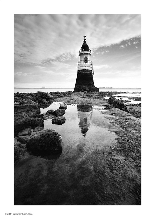 A b&w fine art photo of Plover Scar Lighthouse