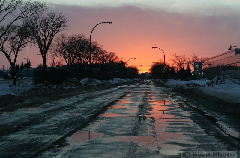 water on the road reflecting sunset