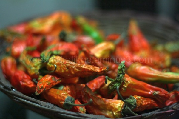 indian chilies in basket