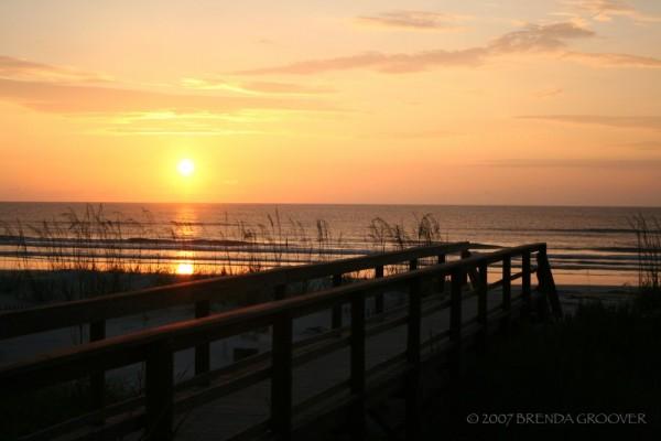 sunrise at St. Augustine Beach with bridge