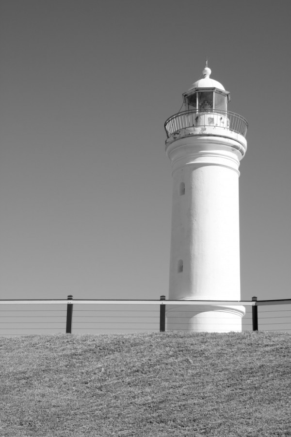 black and white photo of lighthouse