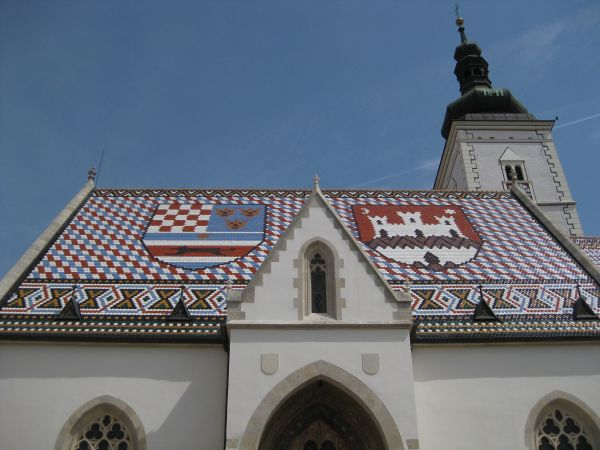 Coloured roof tiles in Zagreb, June 2009