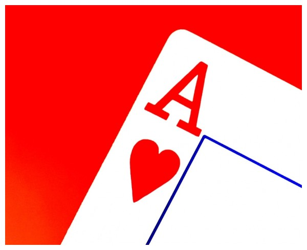 Ace of hearts on red background.