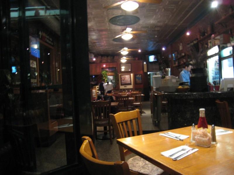 a view thru a restaurant window