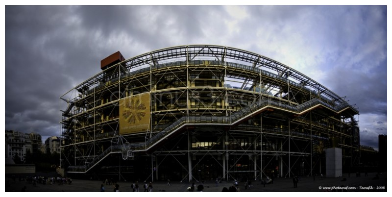 A panoramic view of the Pompidou center in Paris