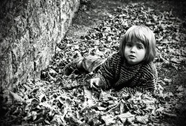 Krabbelndes Kind im Laub (Glastonbury)