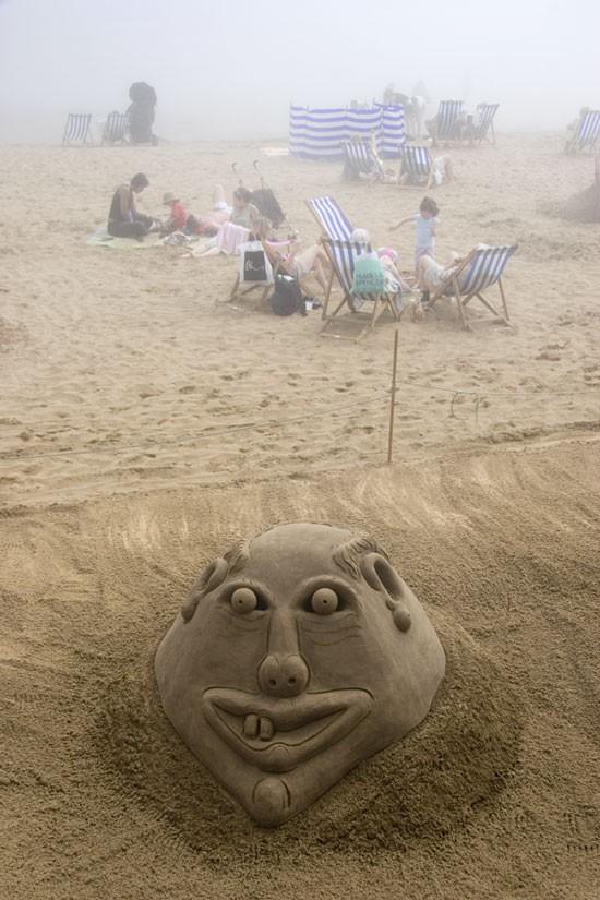 Sand sculpture foggy scarborough