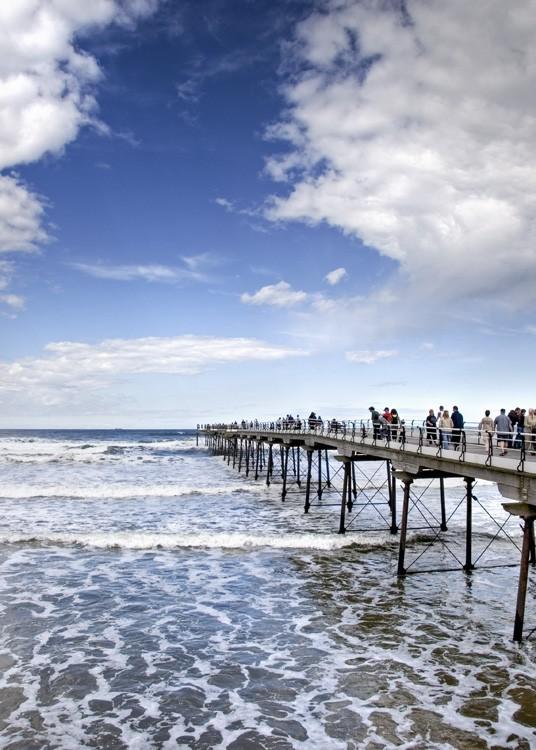 saltburn pier high tide