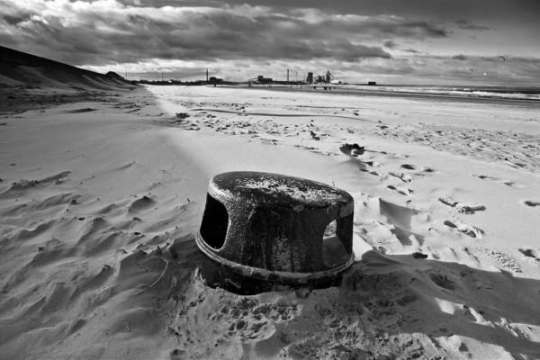beach, redcar, bin, sand