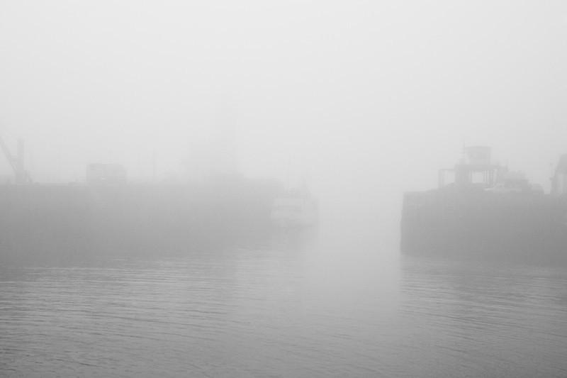 scarborough, mist, harbour