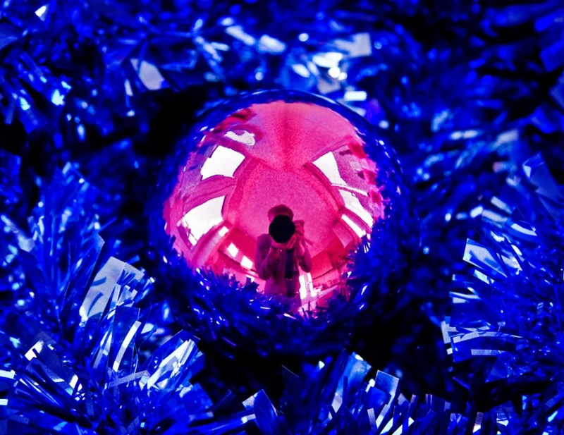 bauble, me, reflection, tinsel, christmas