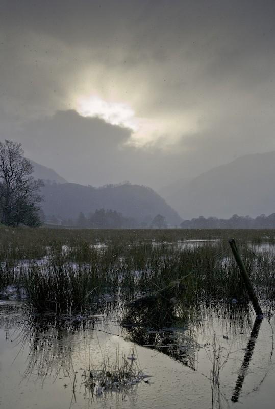 snow, lakes, cumbria, clouds, winter
