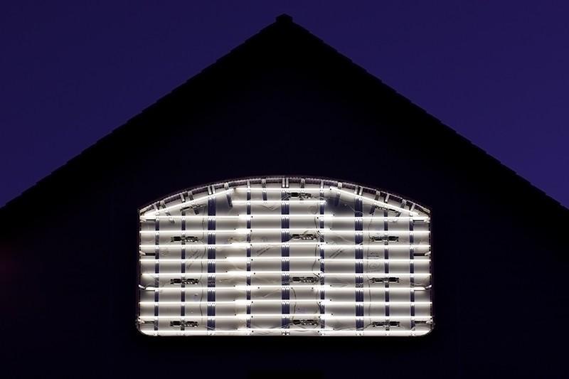roof, lights, blue