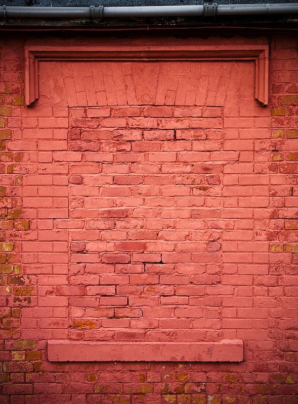 red, window, bricked up