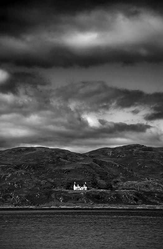 scotland house sea sky clouds