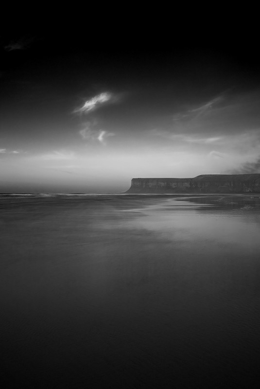saltburn beach long exposure b/w