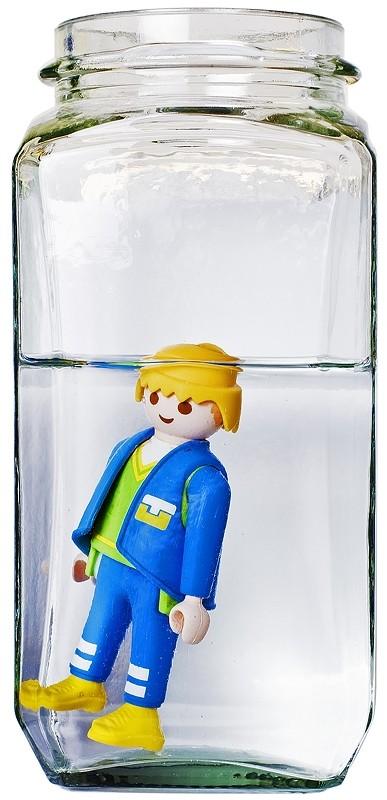 man toy water glass flash weird
