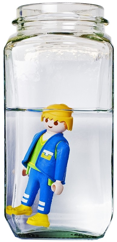 man toy water glass flash weird