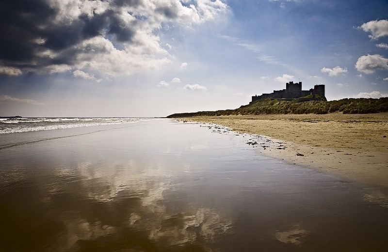 bamburgh castle northumberland sky sea beach coast