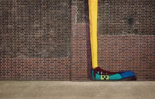 foot bricks wall