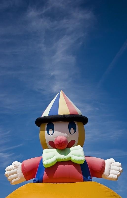 bouncy castle, clown