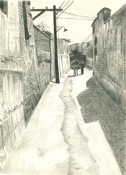 b/w pencil drawing on paper old alley in Shiraz