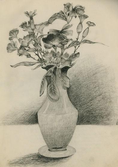 still-life drawing pencil paper flower b/w