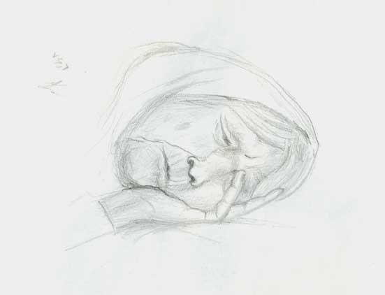drawing b/w pencil paper grandma