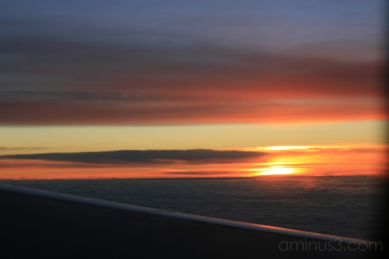 The sunrise - view out of an airplane