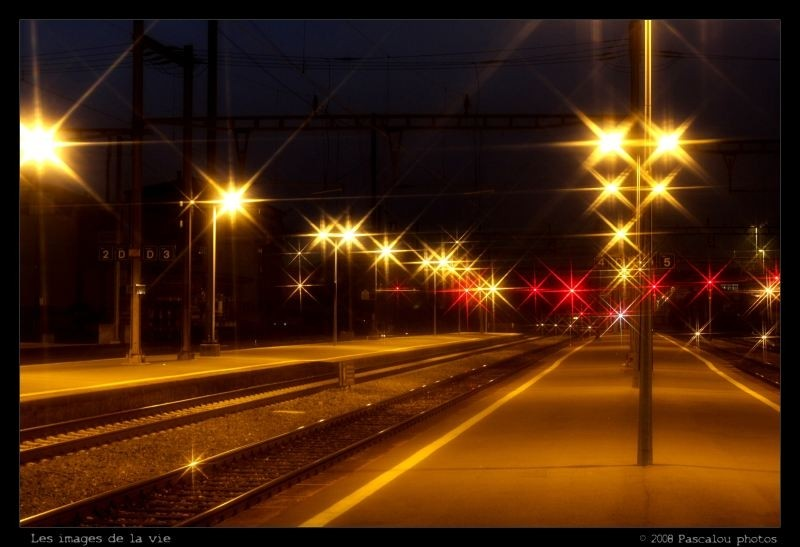 an atmosphere of station in the evening!