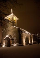 eglise,church,savigny,suisse,neige,froid,nuit,