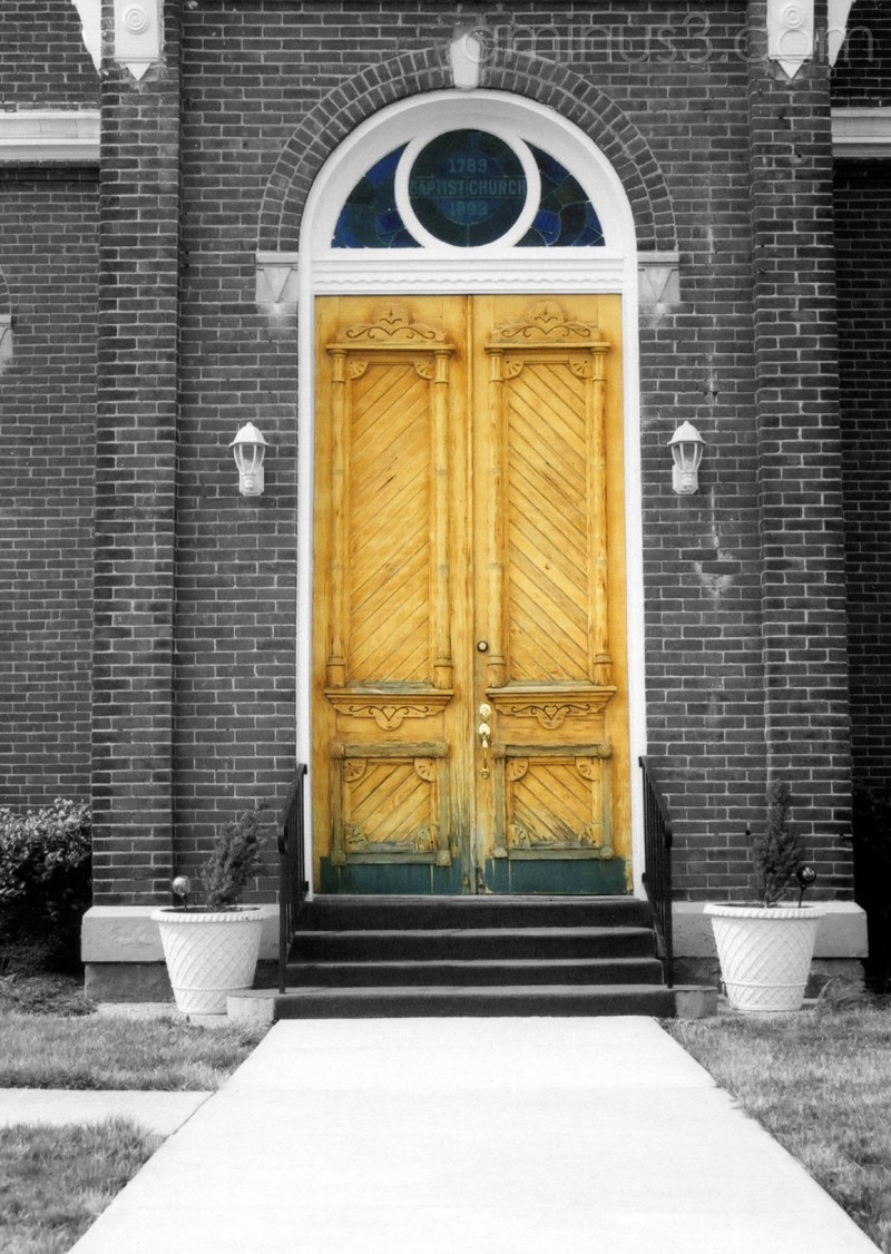 front doors Baptist Church selective colored