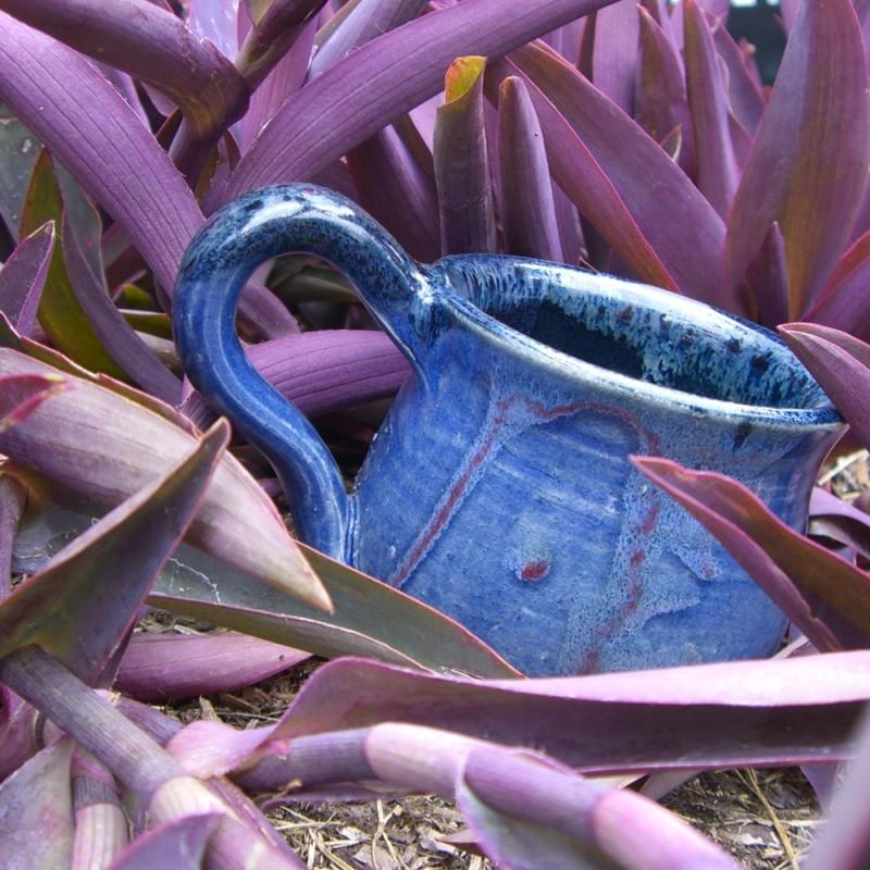 blue purple pottery mug ceramics wheel-thrown